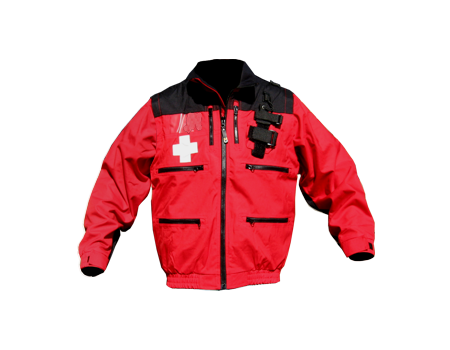 Mountain Uniforms 187 Rescue Jacket W Elastic Red Black